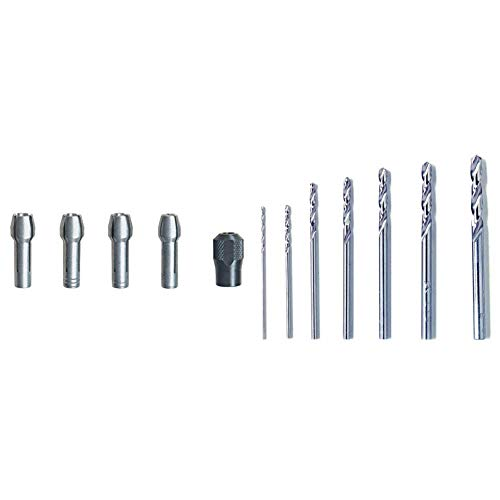 Dremel 4485 Spannzangen-Set (Spannmutter, Spannzangen 0,8/1,6/2,4/3,2 mm) & 628 Präzisions-HSS-Metallbohrer-Set (7 Stück)