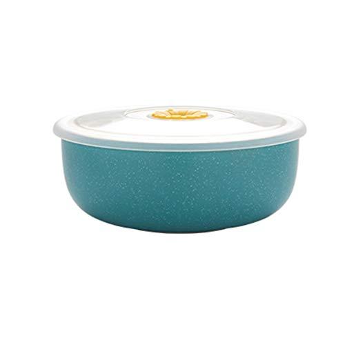SMC Cuenco Fiambrera dedicada del Horno de microondas del hogar Europeo con el tazón de Fuente Fresco Sellado Redondo de la Tapa de la Tapa (Color : Blue)