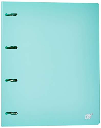 Fichário 4 Argolas A4, YES, R4EABCAZ, Tons Pastel, com 96 Folhas e 5 Divisórias, Azul