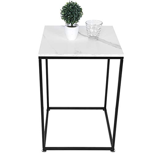 Ejoyous Industrieller Beistelltisch, Moderner quadratischer Couchtisch Marmor Textur Nachttisch Mit rutschfesten Füßen für Wohnzimmer Schlafzimmer 40 x 40 x 61 cm Tragfähigkeit 20 kg