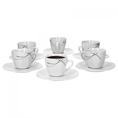 Van Well Lot de 6 tasses à café Donna de 20 cl + soucoupes de 14,5 cm en porcelaine blanche avec lignes décoratives noires, grises et vertes