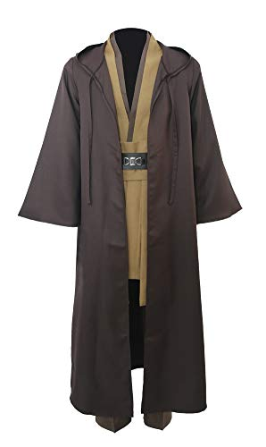 Jedi Tunic Costume Adult Tunic Hooded Robe Full Set Outfit Men's Halloween Knight Cosplay Costume Uniform (Large, Brown)