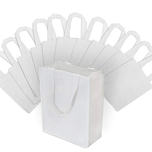 Small White Reusable Gift Bags, Shopping Bags with Handles, Grocery Bags, Fabric Tote Bags, Merchandise Bags, Foldable, Strong and Eco Friendly 12 Pcs. 8x4x10'