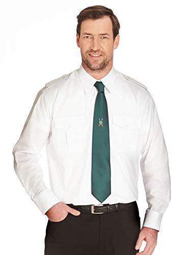 Deitert Pilotenhemd weiß Langarm 1/1 Herrenhemd   abnehmbare Schulterklappen   Businesshemd für Herren 47/48