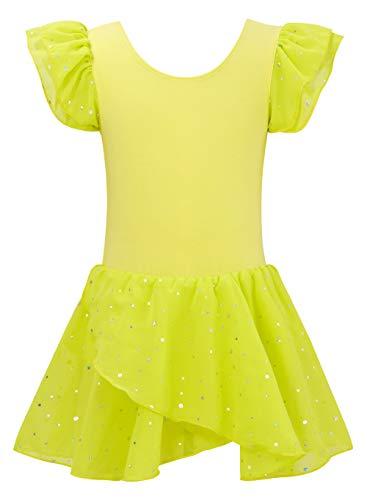 Lovefairy Skirted Leotards for Girls Gymnastics Ruffle Sleeve Ballet Tutu Dress Athletic Base Layers Kids Lightweight Dance Unitards for Team Sport 10-11 Years Yellow