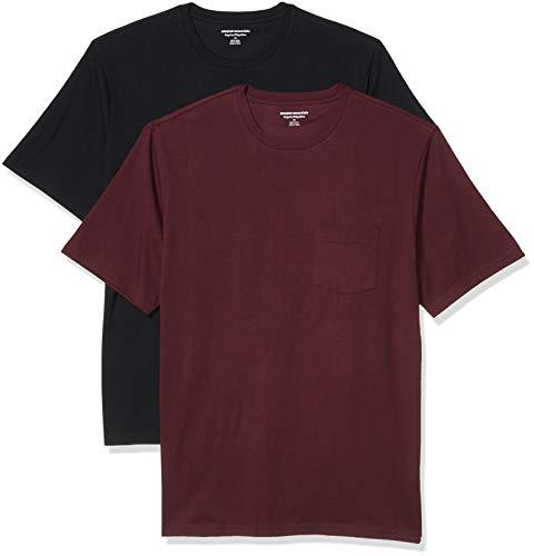 Amazon Essentials Herren 2-pack Loose-fit Crewneck Pocket T-shirt, Burgunderrot / Schwarz, XL