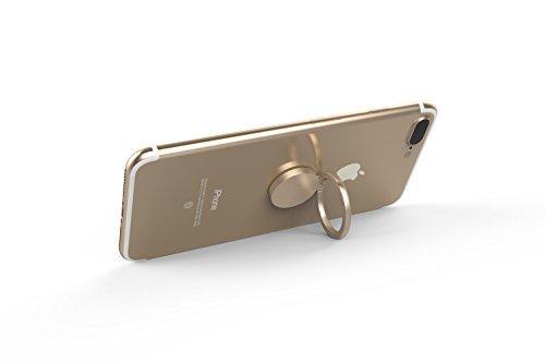 Kronya® | 360° drehbarer Smartphone Fingerhalter | Case Finger Griff Halter Halterung Handy Hülle Ring Ringhalter Ständer Tablet | Kompatibel mit Apple iPhone iPad Samsung Galaxy | 4 (Gold)