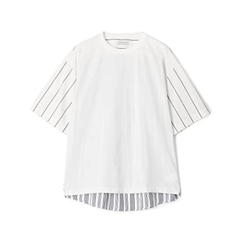 [トゥモローランド] コットン 天竺 ストライプシャツ コンビ 半袖 Tシャツ メンズ M 12 ホワイト系