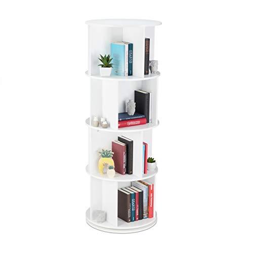 Relaxdays Bücherregal drehbar, Drehregal, Holzregal, CD/DVD Aufbewahrung, Wohnzimmer, Büro, H X D: 138 x 50 cm, weiß