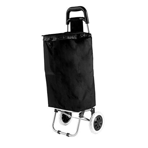 Smartfox Einkaufstrolley Trolley Shoppingtasche Shopping Trolleys Einkaufshilfe Einkaufswagen - einklappbar in schwarz