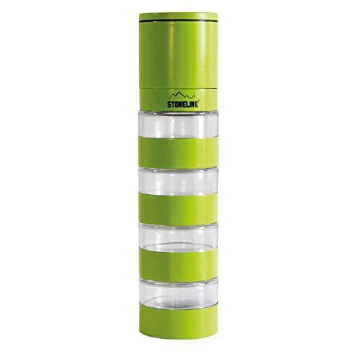 STONELINE® Gewürzmühle mit Keramikmahlwerk, Turm mit 4 Behältnissen (Grün)