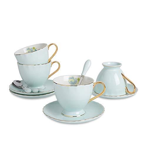 Artvigor, Porzellan Kaffeetassen Set, 4-teilig Set Kaffeeservice, 220 ml Kaffee Tee Tassen, Hellblau + Weiß