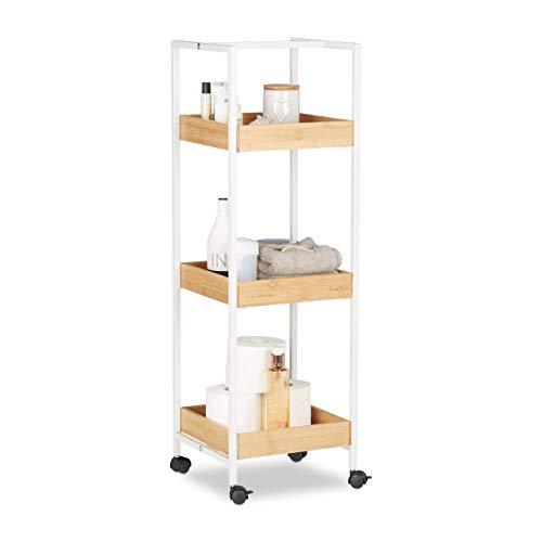 Relaxdays, weiß-braun Badregal mobil, 3 Ablagen, Laufrollen, Allzweckregal HxBxT: ca. 89 x 30 x 30 cm, Holz und Metall, Standard