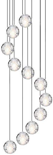 ZCCL Moderna lámpara de araña de Cristal K9, lámpara de Techo esférica de Burbuja de luz Colgante de 3 Luces Lámpara de araña de Montaje Empotrado G4 de Altura Ajustable
