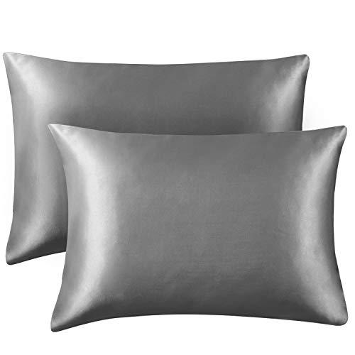 Hansleep Funda Almohada 40x70 cm de Satén Gris Oscuro, 2 Fundas Almohadas 70x40 Sedoso para Pelo Rizado - Juego de Protector Almohada 70x40 Liso Suave sin Cremallera