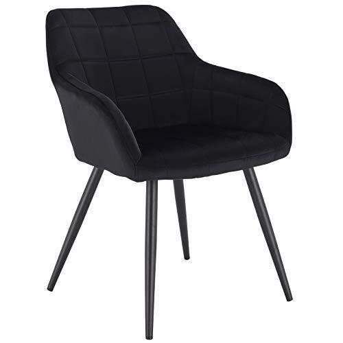 WOLTU® Esszimmerstuhl BH93sz-1 1 Stück Küchenstuhl Polsterstuhl Wohnzimmerstuhl Sessel mit Armlehne, Sitzfläche aus Samt, Metallbeine, Schwarz