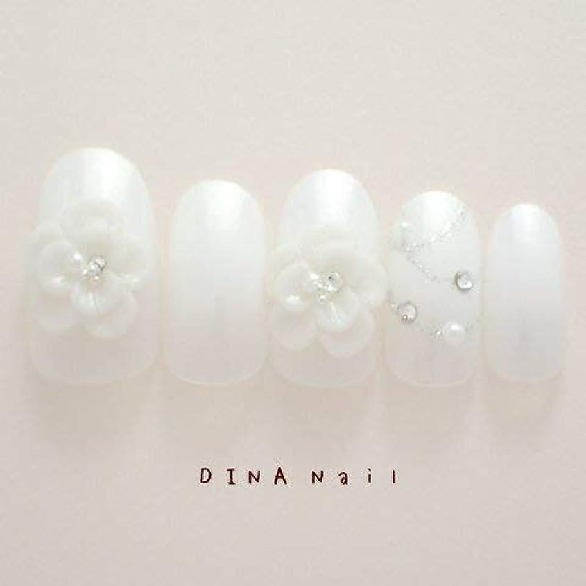 魔術事前瞑想的DINAネイル 微粒ラメホワイト重ね花  スキニーオーバルM(14358番)ネイルチップ