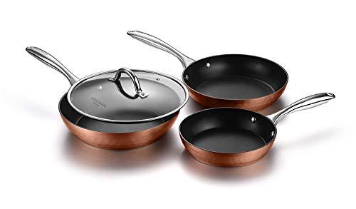 Cooksmark鍋・フライパンミックスセットIH対応オール熱源対応ガラス鍋蓋付キラキラな光沢感10点セットブラウン