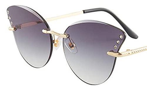 WANGZX Gafas De Sol De Ojo De Gato Sin Marco Únicas Gafas De Sol Decorativas De Diamantes De Moda para Mujer Gafas De Sol De Montura Grande para Mujer Uv400 Goldgrey