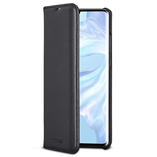 CASEZA Huawei P30 Pro Funda Negro Tipo Libro Piel PU Case Cover Carcasa Plegable Cartera Oslo Piel Vegana Premium para Huawei P 30 Pro (6.47') Original - Ultrafina con Cierre Magnético