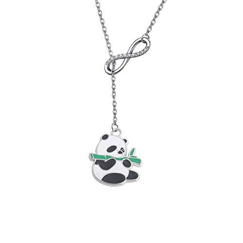 Collana con ciondolo a forma di panda e panda, idea regalo per la festa della mamma, regalo di compleanno e Acciaio inossidabile, colore: Collana Panda Y, cod. NA