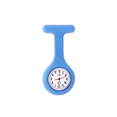 Mujeres Pocket Durable Reloj Analógico Reloj de cuarzo Reloj de silicona Bolsillo Broche Clip FOB Médicos Médicos Reloj Azul, Reloj de mujer