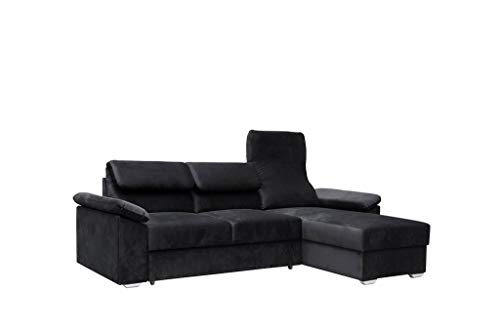 Canapé d'angle 4 places Noir Tissu Moderne Confort