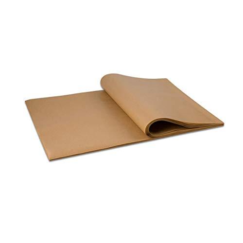 100 hojas de papel de pergamino para hornear, ajuste exacto para bandejas de media hoja, sin blanquear, revestimiento de doble cara, silicona y antiadherente