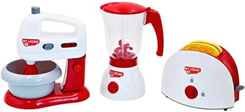 Set di Utensili Elettrodomestici da Cucina per Bambini Accessori da Cucina Giocattolo Include Tostapane, Frullatore e Battitore