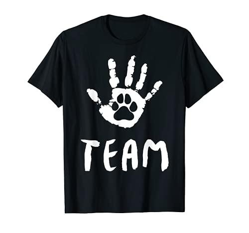 Equipo – Perros gran regalo para hombre, mujer, niños mano y pata. Camiseta ✅