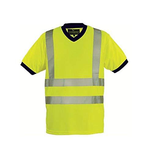 Euro Protection - Maglietta alta visibilità in maglia di poliestere piquet 140 gr.colori vari. Bande 3M. (M, giallo)