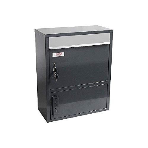 Safepost 921 TIAMAT Paketbriefkasten - Briefkasten mit Zeitungsfach, Paketfach, Übergabefach (anthrazit inkl. 4 Schlüssel)