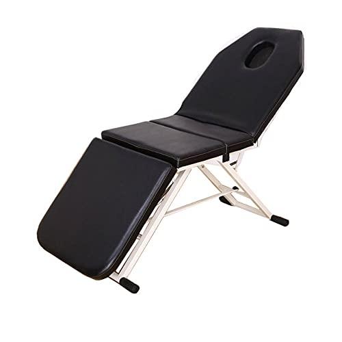 Lshbwsoif Mesa plegable de masaje plegable para cama de spa, tatuaje, salón de belleza, camillas estéticas portátiles, mesa de masaje portátil (tamaño: 182 x 60 x 61 cm; color: negro)