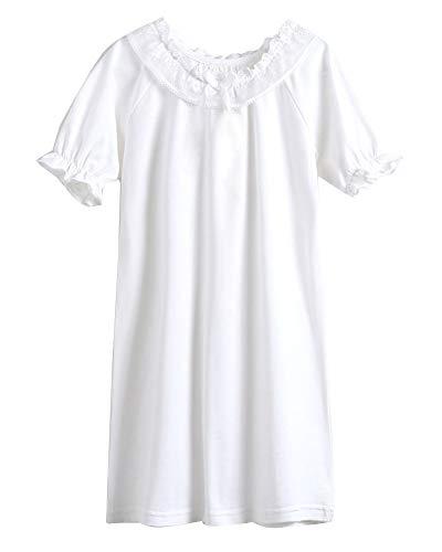 Niñas Camisón De Encaje Camisetas De Pijama Manga Corta T Shirts Vestido Blanco 110CM