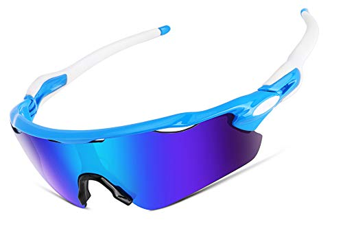 FEISEDY Polarisierte Sportsonnenbrille,Fahrradbrille TR90 Rahmen mit 5 Wechselobjektiven Schutz UV400 Fahrradbrille für Männer Frauen zum Aktivitäten im Freien,Radfahren Laufen Wandern B2280