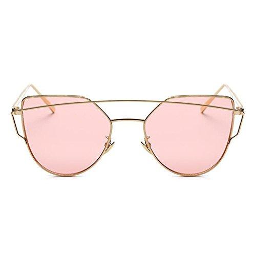 L&K-II Classische Sonnenbrille Damen Metall Rahmen verspiegelte Linse Brille 5101-05