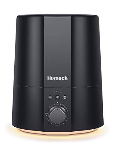 Homech Cool Mist Humidifier, 28dB Quiet Ultrasonic Humidifiers for Bedroom, Warm Light, Timing, Mist Ajustable, Easy to Clean, Auto Shut-Off