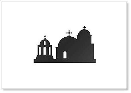 Ilustración de iglesias azules abovedadas. Imán clásico para nevera de Grecia