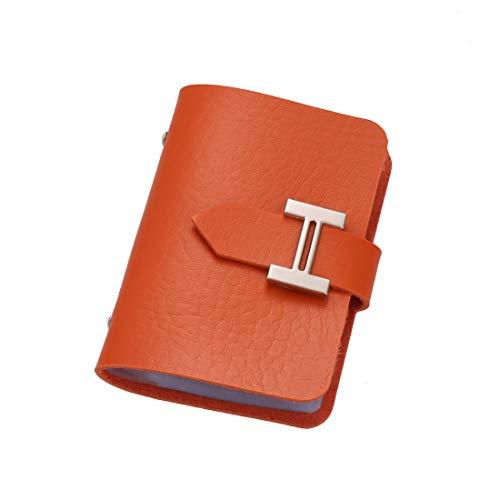 [ドナリー]カードケース レザー 10ポケット 20枚収納 レディース (オレンジ)