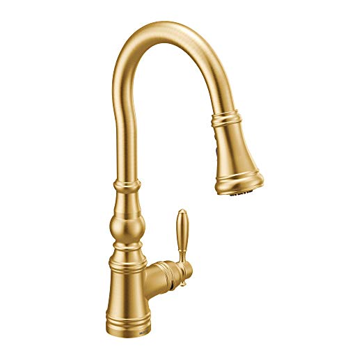 Moen S73004BG Weymouth Shepherd's Hook Pulldown Kitchen Faucet Featuring Metal Wand with Power Boost, Brushed Gold