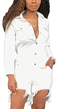 Women s Casual Denim Rompers Sexy V Neck Short Sleeve Button Down Jackets Tops Bib Stand Collar T Shirt Short Pants Jeans with Pockets