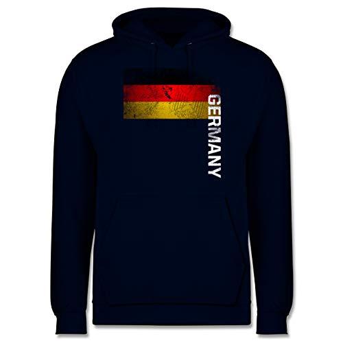 Fußball-Europameisterschaft 2021 - Deutschland Flagge Adler Vintage Germany - M - Navy Blau - WM - JH001 - Herren Hoodie und Kapuzenpullover für Männer