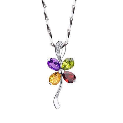 OMING Collares Trébol de Cuatro Hojas Colgante Collar de Cuatro Colores Collar Pendiente cristalino, 16/18 Pulgadas Colgantes de Mujer