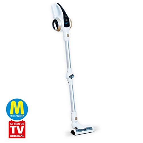 MediaShop Livington Prime 3-in-1 Akku Staubsauger – kabelloser Staubsauger mit Knickgelenk für schwer erreichbare Stellen – leichter Staubsauger ohne Beutel