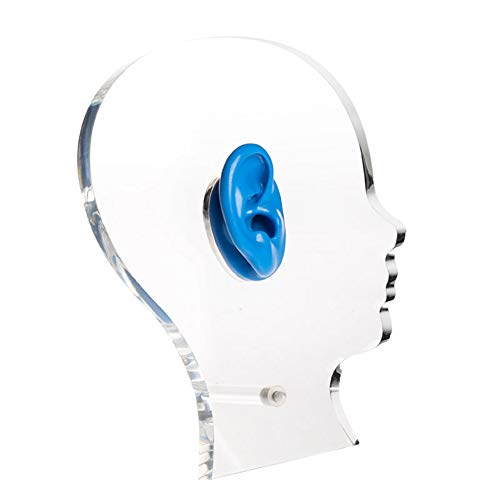 MooKe Acryl-Display mit Silikon-Ohr-Hörgeräte-Kopfhörer Vitrine Ausstellungsstand-Halter-Kopf-Form 15CM Stärke,Blau