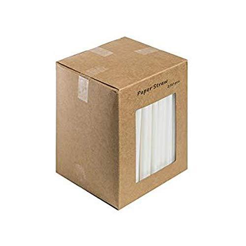 We Can Source It Ltd – Cannucce di carta bianca – 100% biodegradabili, compostabili, ecologiche, usa e getta, per cocktail, bicchieri, bevande, feste, 140 mm, 250 pezzi in 1 scatola
