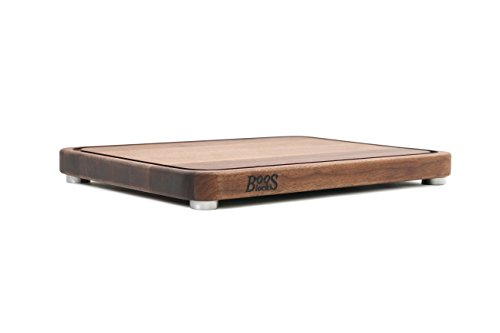 John Boos Block WAL-TEN2015 Walnut Wood Tenmoku Cutting Board with Juice Groove and Stainless Steel Feet, 20 Inches by 15 Inches by 1.5 Inches