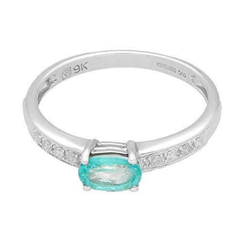 Damen-Ring 9 Karat (375) Weißgold Paraiba Turmalin Solitaire mit Diamantakzenten (Größe M) | Luxuriöser Damenring