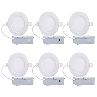 """6"""" Slim Retrofit LED Recessed Lighting, 12W Dimmable LED Airtight Downlight with Junction Box, 5000K Ceiling Light 1000LM Wafer LED Panel Light for Dry/Damp Locations - 4 Pack"""