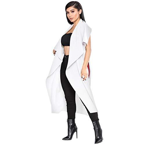 Damesmantel lang, elegante lente, modieus, zomer, mouwloos, poncho, trenchcoat, fashionable Completi, met riem, split, vrije tijd, asymmetrisch cardigan outwear, wit